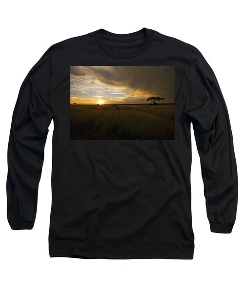 sunset over the Serengeti plains Long Sleeve T-Shirt by Patrick Kain