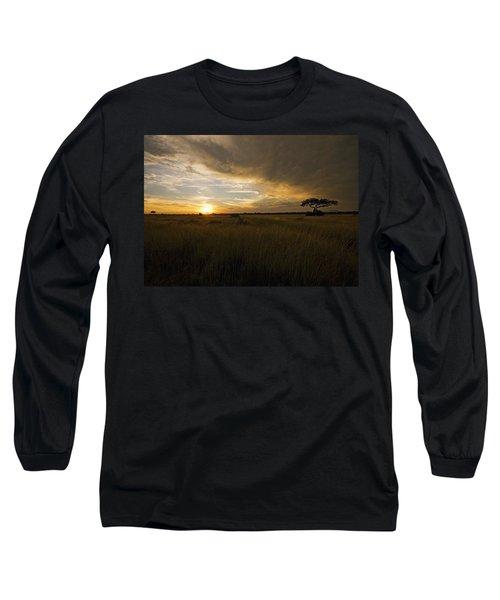 sunset over the Serengeti plains Long Sleeve T-Shirt