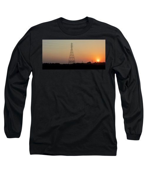 Long Sleeve T-Shirt featuring the photograph Sunset Pylons by Chris Cousins