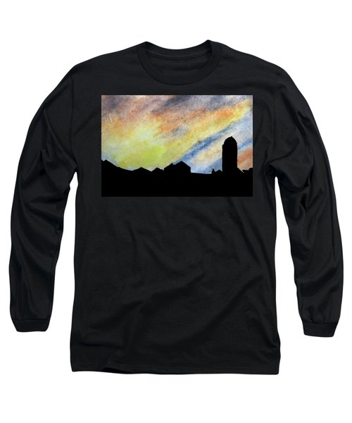 Sunset Silhouetted Farmstead Long Sleeve T-Shirt by R Kyllo