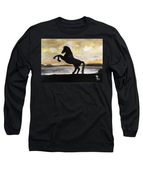 Sunset Stallion Long Sleeve T-Shirt by Carole Robins