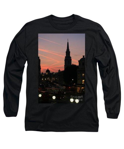 Sunset View From Charing Cross  Long Sleeve T-Shirt by Paula Guttilla