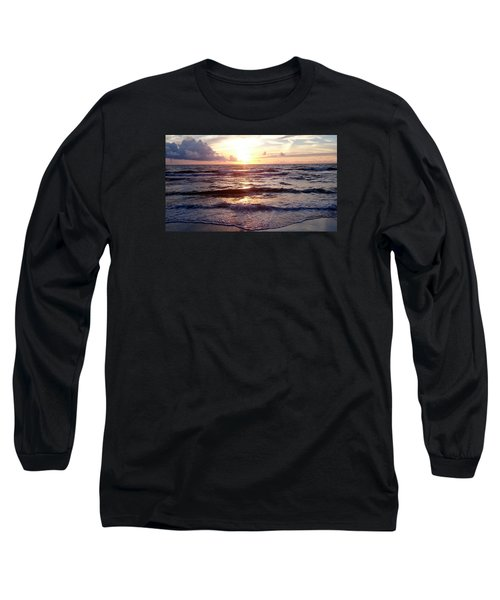 Long Sleeve T-Shirt featuring the photograph Sunset Waves 1 by Vicky Tarcau