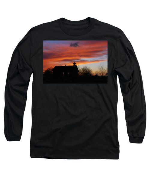 Sunsetting Behind The Historic Schoolhouse. Long Sleeve T-Shirt