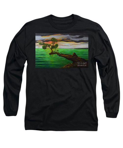 Long Sleeve T-Shirt featuring the painting Sunsetting by Melvin Turner