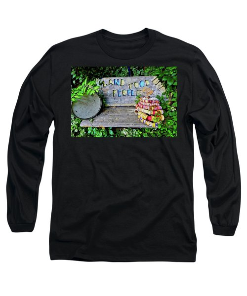 Long Sleeve T-Shirt featuring the painting Sunshine Bench by Joan Reese