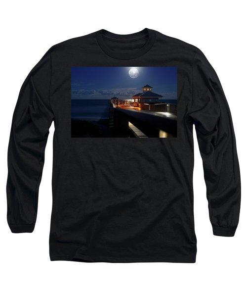 Super Moon At Juno Pier Long Sleeve T-Shirt