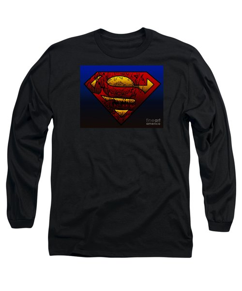 Superman Doomsday Shield  Long Sleeve T-Shirt by Justin Moore