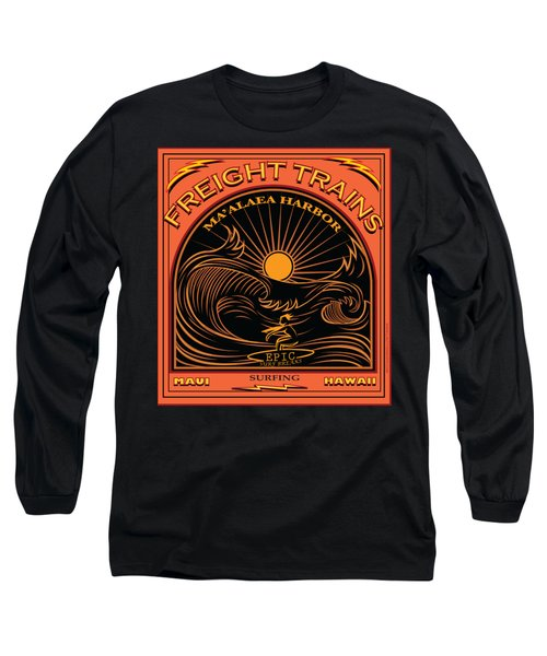 Surfer Freight Trains Maui Hawaii Long Sleeve T-Shirt by Larry Butterworth