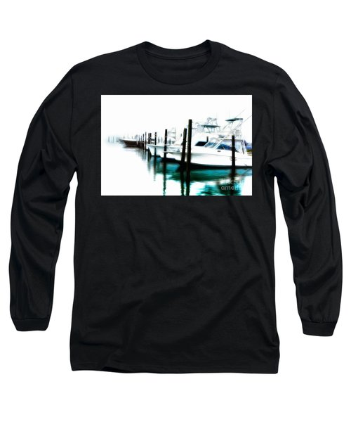 Surreal Fishing Boats In Outer Banks Marina Ap Long Sleeve T-Shirt by Dan Carmichael