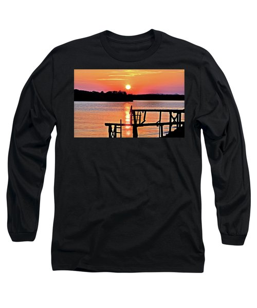 Surreal Smith Mountain Lake Dock Sunset Long Sleeve T-Shirt by The American Shutterbug Society