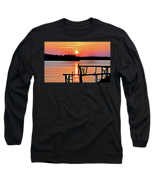 Surreal Smith Mountain Lake Dock Sunset Long Sleeve T-Shirt