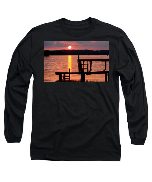 Surreal Smith Mountain Lake Dockside Sunset 2 Long Sleeve T-Shirt by The American Shutterbug Society