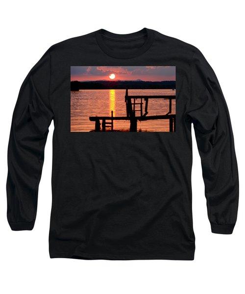 Surreal Smith Mountain Lake Dockside Sunset 2 Long Sleeve T-Shirt