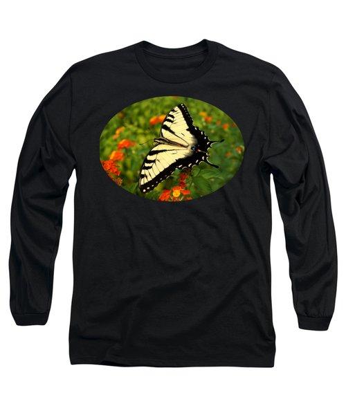 Swallowtail Among Lantana Long Sleeve T-Shirt by Sue Melvin