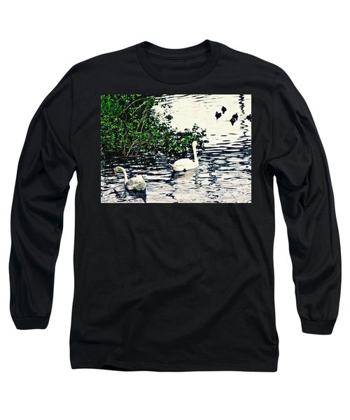 Long Sleeve T-Shirt featuring the photograph Swan Family On The Rhine 2 by Sarah Loft