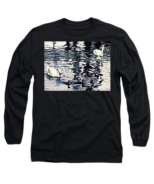 Long Sleeve T-Shirt featuring the photograph Swan Family On The Rhine by Sarah Loft