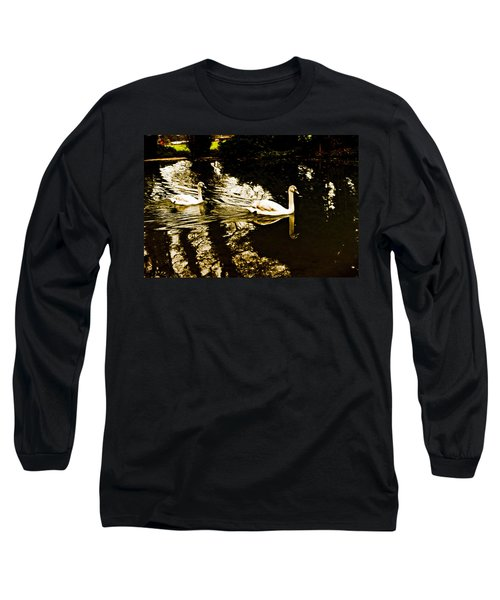Swans On River Wey Long Sleeve T-Shirt by Patrick Kain