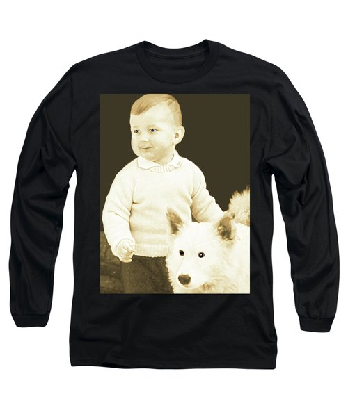 Long Sleeve T-Shirt featuring the painting Sweet Vintage Toddler With His White Mutt by Marian Cates