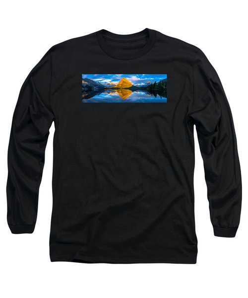 Swiftcurrent Lake Sunrise Panorama Long Sleeve T-Shirt
