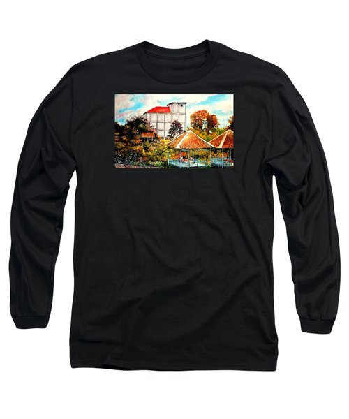 Long Sleeve T-Shirt featuring the painting Swifts  Nest's Building by Jason Sentuf