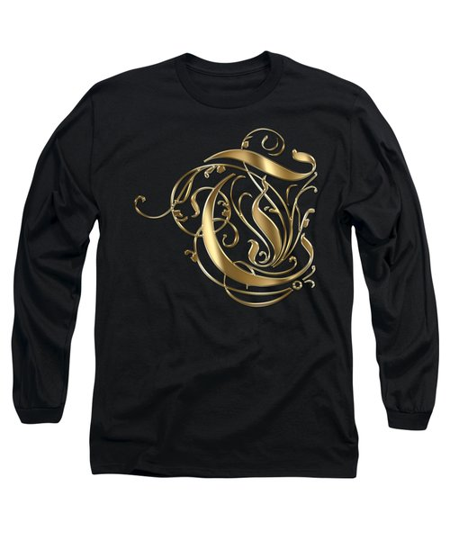 T Golden Ornamental Letter Typography Long Sleeve T-Shirt