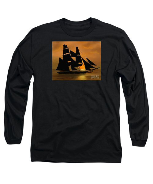 Long Sleeve T-Shirt featuring the painting Tall Ship With A Harvest Moon by Judy Filarecki