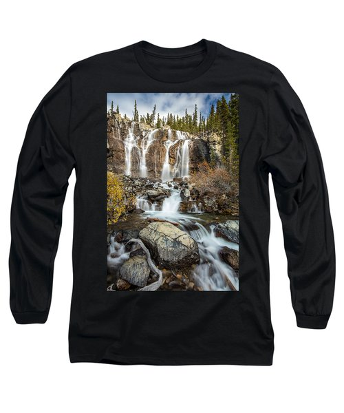 Long Sleeve T-Shirt featuring the photograph Tangle Waterfall On The Icefield Parkway by Pierre Leclerc Photography