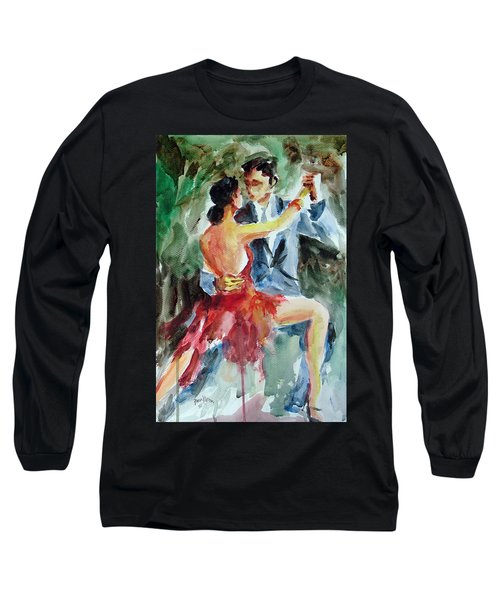 Long Sleeve T-Shirt featuring the painting Tango In The Night by Faruk Koksal