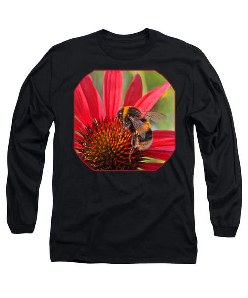 Taste Of Summer - Bee On Red Coneflower - Square Long Sleeve T-Shirt