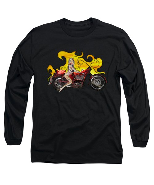 Tattoo Pinup Girl On Her Motorcycle Long Sleeve T-Shirt by Tom Conway