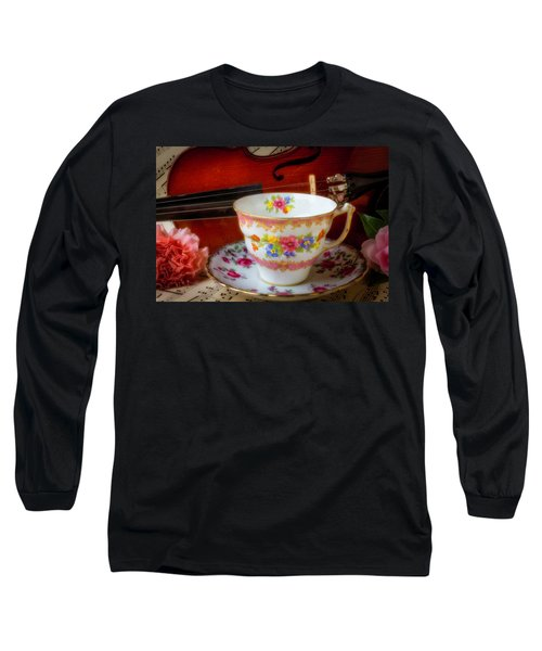 Tea Cup And Violin Long Sleeve T-Shirt