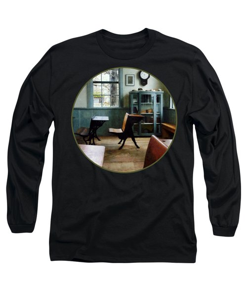 Teacher - One Room Schoolhouse With Clock Long Sleeve T-Shirt