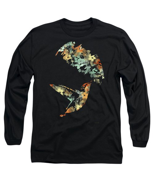 Floral Hummingbird Art Long Sleeve T-Shirt by Christina Rollo