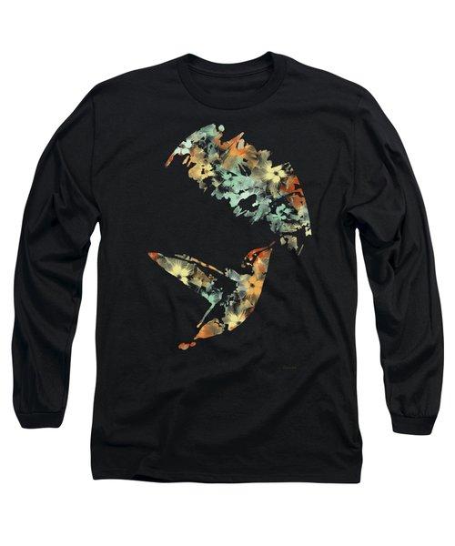 Floral Hummingbird Art Long Sleeve T-Shirt