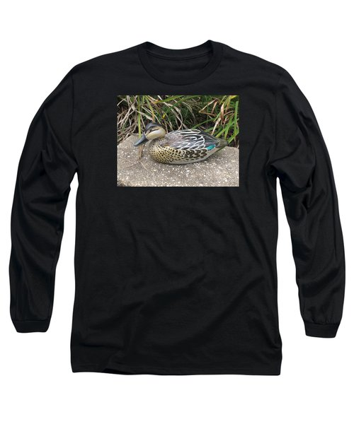 Long Sleeve T-Shirt featuring the sculpture Teal Winged Female by Kevin F Heuman