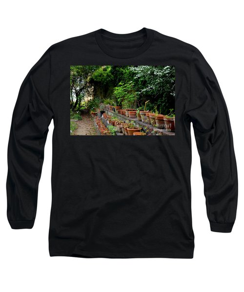 Terracotta Pots In The Botanical Gardens Of Pisa Italy Long Sleeve T-Shirt