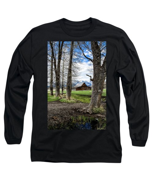 Long Sleeve T-Shirt featuring the photograph Moulton Barn On Mormon Row by Scott Read