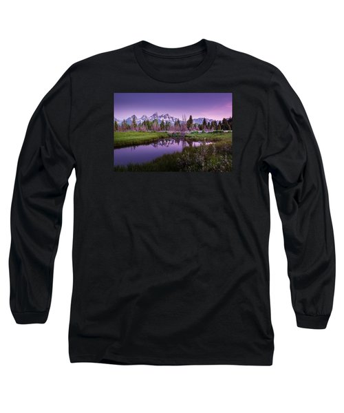 Tetons In Pink Long Sleeve T-Shirt by Mary Angelini