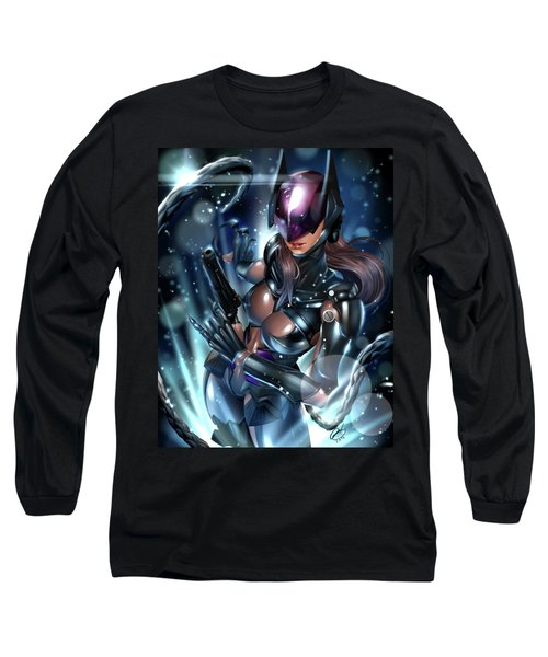 Long Sleeve T-Shirt featuring the painting Tetsuya Nomura Catwoman by Pete Tapang