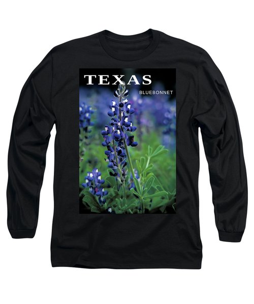 Long Sleeve T-Shirt featuring the mixed media Texas Bluebonnet State Flower by Daniel Hagerman