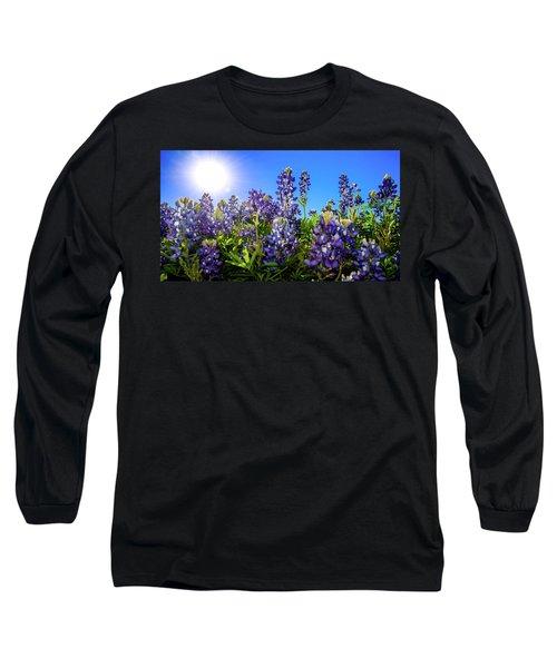 Texas Bluebonnets Backlit II Long Sleeve T-Shirt by Greg Reed