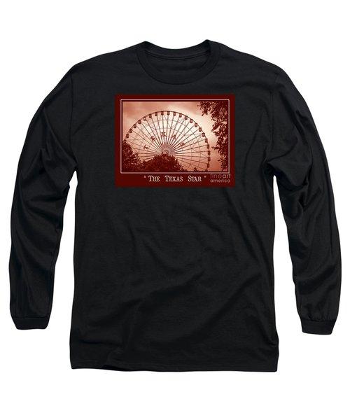 Texas Star In Orange Long Sleeve T-Shirt
