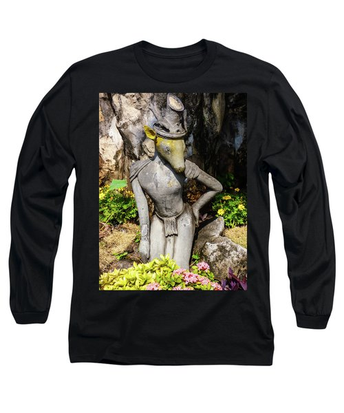 Thai Yoga Statue With Animal Head At Wat Pho Temple Long Sleeve T-Shirt