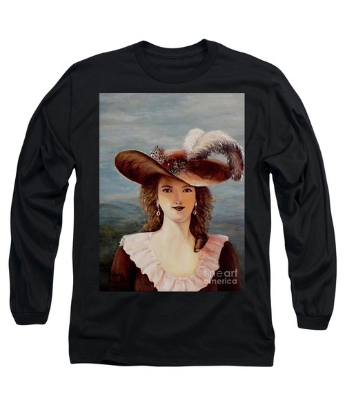 Long Sleeve T-Shirt featuring the painting That Feather In Her Hat by Judy Kirouac