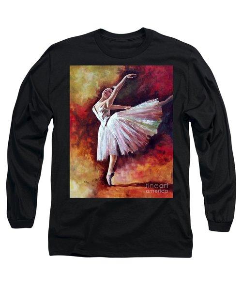The Dancer Tilting - Adaptation Of Degas Artwork Long Sleeve T-Shirt