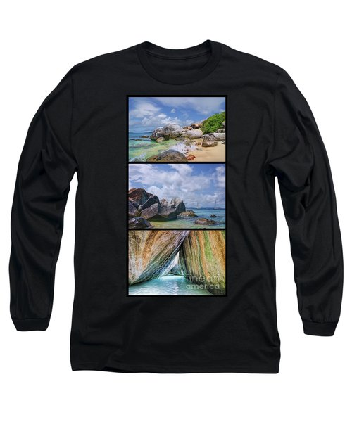 The Baths Virgin Gorda National Park Triptych Long Sleeve T-Shirt by Olga Hamilton