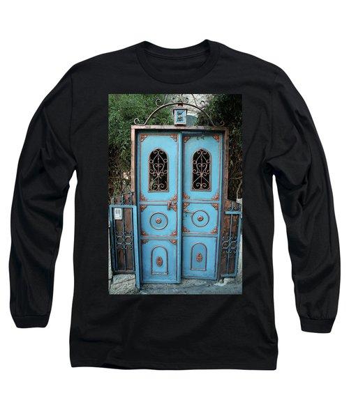 The Blue And Gold Door Of Jerusalem Long Sleeve T-Shirt by Yoel Koskas