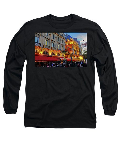 The Boulevard Saint Michel At Dusk In Paris, France Long Sleeve T-Shirt