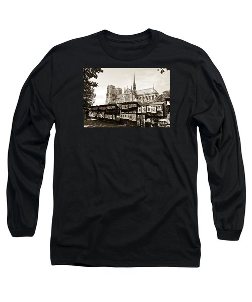 The Bouquinistes And Notre-dame Cathedral Long Sleeve T-Shirt by Perry Van Munster